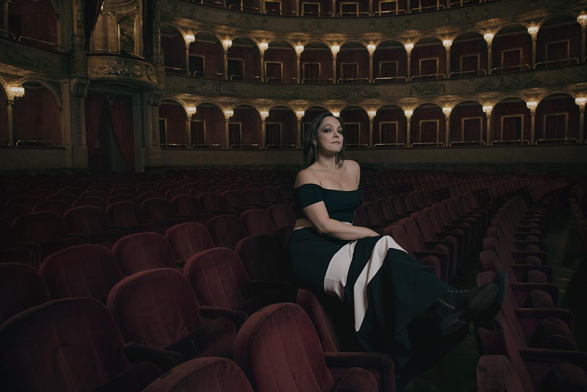Rome, 2016. The italian soprano Eleonora Buratto in the Opera Theatre. Roma, 2016. La soprano Eleonora Buratto nel Teatro dell'Opera.