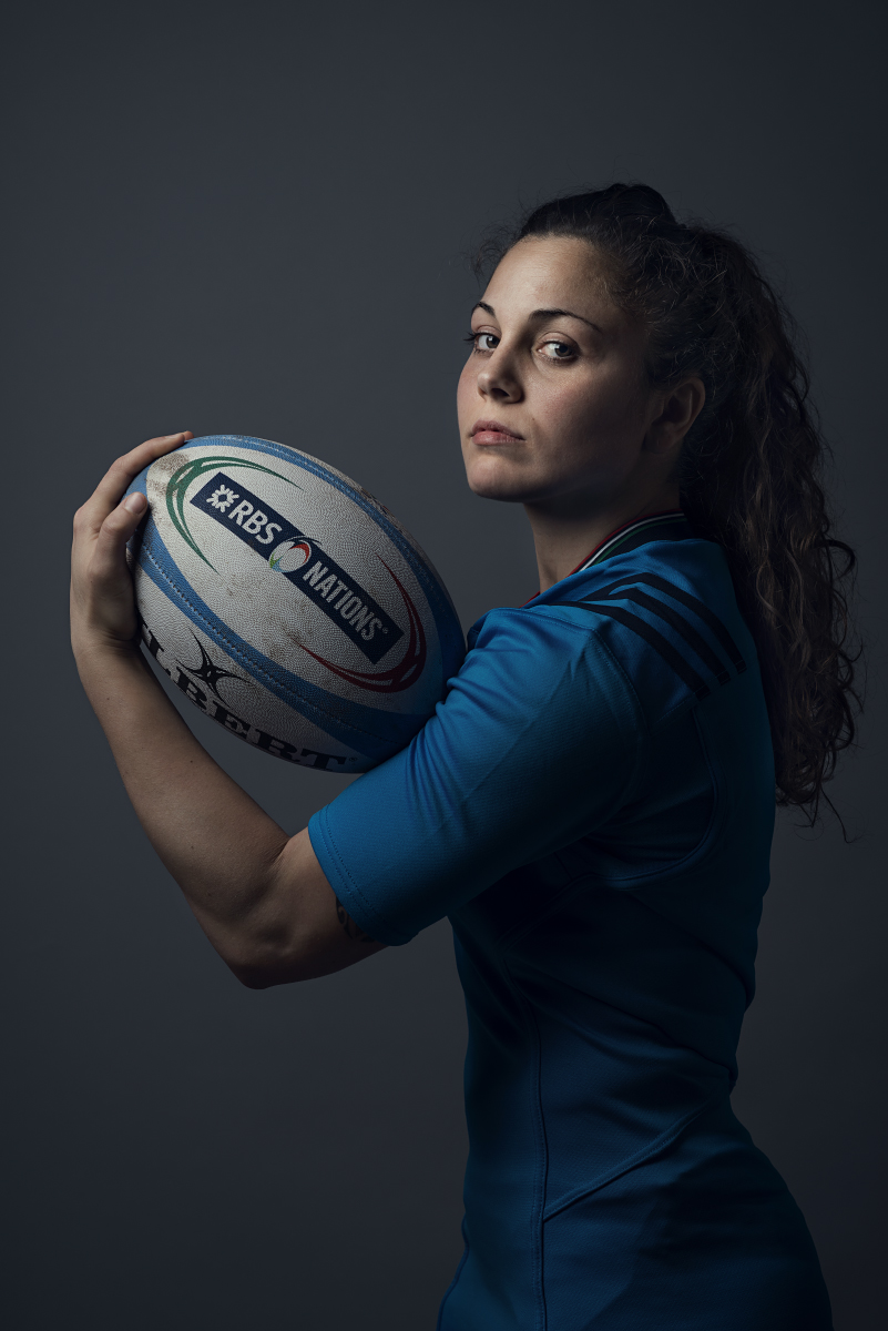Aquila, 2017. Maria Grazia Cioffi, giocatrice della nazionale italiana femminile di rugby. Aquila, 2017. Maria Grazia Cioffi, Italy women's national rugby team player.