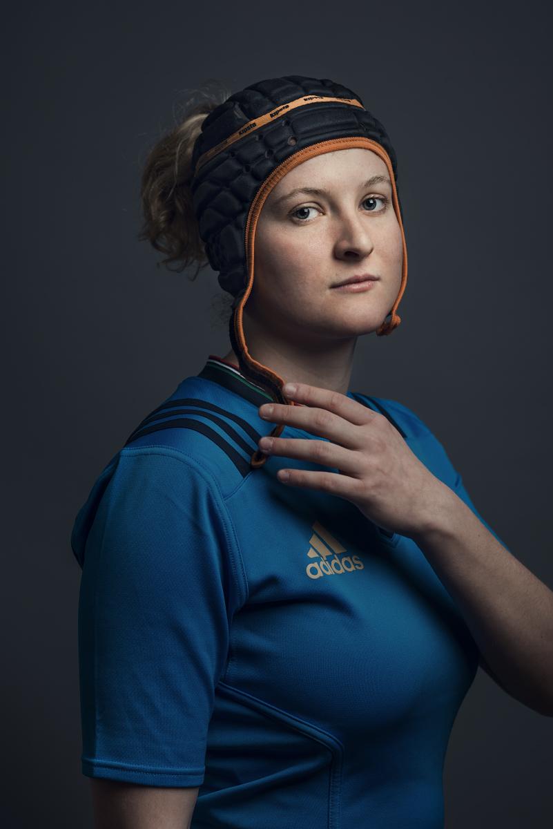 Aquila, 2017. Isabella Locatelli, giocatrice della nazionale italiana femminile di rugby. Aquila, 2017. Isabella Locatelli, Italy women's national rugby team player.