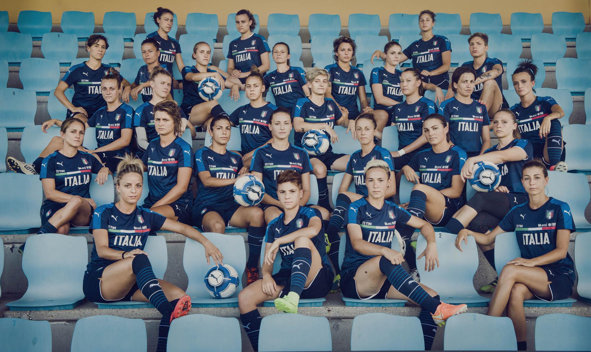 Coverciano, 2017. La nazionale femminile di calcio italiana.